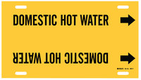 Brady 4051-F Black on Yellow Plastic Water Strap-On Pipe Marker - 1 1/4 in Character Height with Right Arrow - B-915