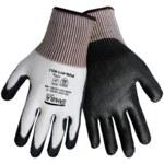 Global Glove Samurai PUG411 Black/White Large HDPE Cut-Resistant Gloves - ANSI 2 Cut Resistance - Polyurethane Palm & Fingers Coating - PUG411/LG