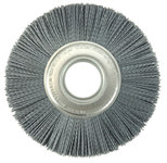 Weiler Silicon Carbide Wheel Brush 0.035 in Bristle Diameter 180 Grit - Arbor Attachment - 8 in Outside Diameter - 2 in Center Hole Size - 83130
