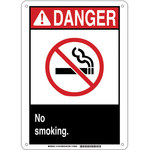 Brady B-946 Vinyl Rectangle White No Smoking Sign - 10 in Width x 14 in Height - 141911