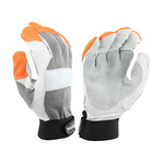 West Chester 86565 Gray/Orange Large Grain Goatskin Leather Work Gloves - Wing Thumb - 86565/L