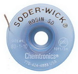 Chemtronics Soder-Wick #80 White Rosin Flux Core Desoldering Braid - 10 ft Length - 0.03 in Diameter - Rosin Flux Core - 80-1-10