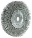 Weiler Steel Wheel Brush 0.0118 in Bristle Diameter - Arbor Attachment - 6 in Outside Diameter - 5/8 to 1/2 in Center Hole Size - 01065