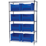 Akro-Mils Stak-N-Store 2000 lb Adjustable Blue Chrome Steel Open Adjustable Fixed Shelving System - 9 Bins - 2000 lb Total Capacity - AWS184813017 BLUE