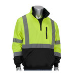PIP Black/Lime Yellow Large Polyester Fleece Cold Weather Sweatshirt - 3 Pockets - 616314-18535