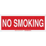 Brady B-302 Polyester Rectangle Red No Smoking Sign - 14 in Width x 5 in Height - Laminated - 88418
