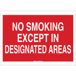 Brady B-302 Polyester Rectangle Red No Smoking Sign - 10 in Width x 7 in Height - Laminated - 88437