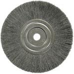 Weiler Steel Wheel Brush 0.014 in Bristle Diameter - Arbor Attachment - 8 in Outside Diameter - 3/4 in Center Hole Size - 01178