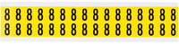 Brady 34 Series 3420-8 Black on Yellow Vinyl Cloth Number Label - Indoor - 9/16 in Width - 3/4 in Height - 5/8 in Character Height - B-498