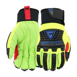 West Chester R2 87800 Yellow/Black Large Cotton Work Gloves - Wing Thumb - ANSI A2 Cut Resistance - 87800/L
