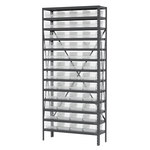 Akro-Mils Shelfmax 6500 lb Adjustable Clear Gray Steel 22 ga Open Adjustable Fixed Shelving System - 48 Bins - 6500 lb Total Capacity - AS1279150SC
