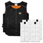Ergodyne Chill-Its 6260 Phase Change Black Large/XL Polyester Cooling Vest - Place Cooling Packets in Freezer or Refrigerator - 2 Pockets - 720476-12135