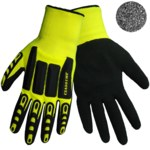 Global Glove Vise Gripster C.I.A CIA501MF Lime/Black Large Nylon Mechanic's Gloves - Nitrile Palm & Fingers Coating - CIA501MF/LG