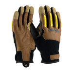 PIP Maximum Safety 120-4200 Black/Brown/Yellow Large Split Goatskin Leather/Spandex Work Gloves - 9.75 in Length - 120-4200/L