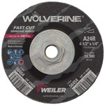 Weiler Aluminum Oxide Surface Grinding Wheel - 24 Grit - Coarse Grade - 4 1/2 in Diameter - 1/4 in Thick - 56454