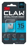 3M CLAW Stainless Steel Drywall Picture Hanger - 0.9 in Length x 0.9 in Width 15 lb Weight Capacity - 66154