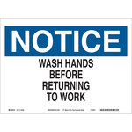 Brady B-563 High Density Polypropylene Rectangle White Personal Hygiene Sign - 10 in Width x 7 in Height - 116323