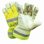 West Chester Yellow Large Grain Pigskin Leather Cold Condition Gloves - Wing Thumb - Thinsulate Insulation - HVY5555/L