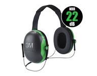 3M Peltor X Series X1B Black/Green Behind Neck Polyurethane Protective Earmuffs - 22 Decibel NRR