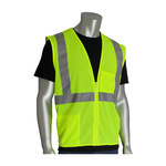 PIP 302-0702Z-LY Lime Yellow Large Polyester Mesh High-Visibility Vest - 2 Pockets - Fits 49.5 in Chest - 28 in Length - 616314-23917