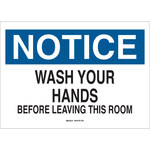 Brady B-401 Polystyrene Rectangle White Personal Hygiene Sign - 10 in Width x 7 in Height - 25153