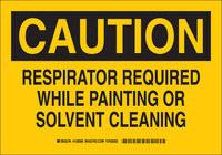 Brady B-555 Aluminum Rectangle Yellow Respirator Sign - 10 in Width x 7 in Height - 128586