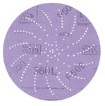 3M Hookit 360L Coated Aluminum Oxide Purple Hook & Loop Disc - Film Backing - 3 mil Weight - P220 Grit - Very Fine - 5 in Diameter - 01704