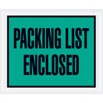 Green Packing List Enclosed Full Face Envelopes - 4.5 in x 5.5 in - 2 Mil Poly Thick - SHP-8202
