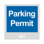 Brady 96233 Blue / White on Gray Square Vinyl Parking Permit Label - 3 in Width - 3 in Height - Print Number(s) = 401 to 500 - 14249