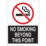 Brady B-555 Aluminum Rectangle White No Smoking Sign - 7 in Width x 10 in Height - 141926