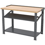 Akro-Mils RHWB Fixed Gray 11 ga Fixed Height Work Bench - 60 in Overall Length - Steel Work Surface 11 ga Thickness - Both Forward Shelf Configuration - RHWB3060GF 1 S