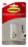 3M Command 17071BN Plastic Brushed Nickel Accent Hook - 3 1/8 in Length x 1 1/4 in Width 3 lbs Weight Capacity - 33586