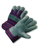 West Chester 558 Blue/Red Medium Split Cowhide Leather Work Gloves - Wing Thumb - 9.5 in Length - 558/M