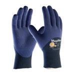 PIP MaxiFlex Elite 34-245 Blue on Blue Large Nylon Work Gloves - EN 388 1 Cut Resistance - Nitrile Dotted Palm & Fingers & Over Knuckles Coating - 8.9 in Length - 34-245/L