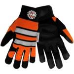 Global Glove Hot Rod HR9000VIS Black/Orange/White 2XL Synthetic Leather Work Gloves - HR9000VIS/2XL