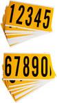 Brady 15 Series 1560-# KIT Black on Yellow Vinyl Numbers Label Kit - Indoor / Outdoor - 1 3/4 in Width - 5 in Height - 3 7/8 in Character Height - 97129