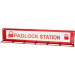 Brady Red Steel Padlock Station - 16 in Width - 3 in Height - 24 Padlock Capacity - 754476-45650