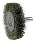 Weiler Stainless Steel Radial Bristle Brush - 2 in Outside Diameter - 0.008 in Bristle Diameter - 17974