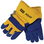 North Polar Blue/Yellow 11 Split Cowhide Canvas/Leather Cold Condition Gloves - Wing Thumb - Thinsulate Insulation - 70/6465NK