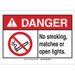 Brady B-401 Plastic Rectangle White No Smoking Sign - 20 in Width x 14 in Height - 143776