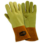 West Chester 6021 Off-White Large Grain Pigskin Leather Welding Glove - Straight Thumb - 12 in Length - 6021/L