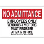 Brady B-555 Aluminum Rectangle White Restricted Area Sign - 10 in Width x 7 in Height - 123456