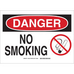 Brady B-401 Polystyrene Rectangle White No Smoking Sign - 14 in Width x 10 in Height - 25912