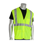 PIP Lime Yellow Small Polyester Mesh High-Visibility Vest - 2 Pockets - Fits 45 in Chest - 24 in Length - 616314-20462