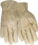 Red Steer 1660 White Large Grain Pigskin Leather Driver's Gloves - Keystone Thumb - 1660-L
