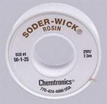 Chemtronics Soder-Wick #50 White Rosin Flux Core Desoldering Braid - 25 ft Length - 0.03 in Diameter - Rosin Flux Core - 50-1-25