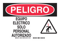 Brady B-555 Aluminum Rectangle White Electrical Safety Sign - 10 in Width x 7 in Height - Language Spanish - 38455