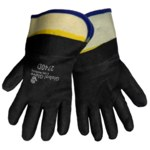 Global Glove 2740D Black/Yellow Large Velvet Work Gloves - PVC Both Sides Coating - Rough Finish - 2740D/LG