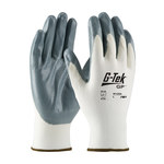 PIP G-Tek GP 34-C234 Gray/White Large Nylon Work Gloves - EN 388 1 Cut Resistance - Nitrile Palm & Fingers Coating - 9.8 in Length - 34-C234/L