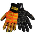 Global Glove Vise Gripster SG9999 Black/Orange/Yellow Large Armortex/Neoprene/TPR Work Glove - Silicone Palm Only Coating - Rough Finish - SG9999/LG